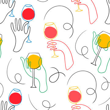Graphic one line hands with wine. Hand drawn colored vector seamless pattern
