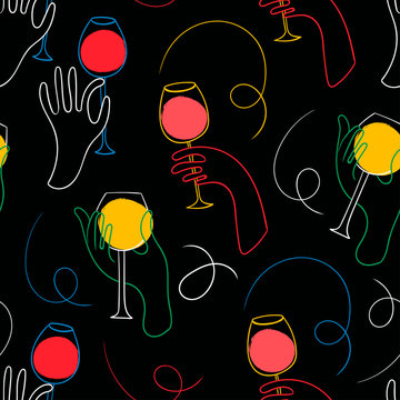 White graphic one line hands with wine. Black background. Hand drawn colored vector seamless pattern