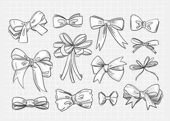 Hand drawn various bow ties. Black and white vector set. Checked background. All elements are isolated