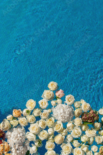 The Pool Filled With White Rose Flowers Wedding Decor Stock Photo