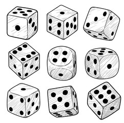 Dice illustration, drawing, engraving, ink, line art, vector