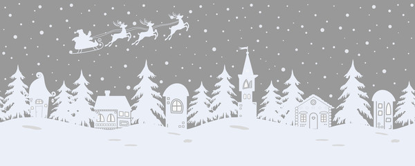 Fairy tale winter landscape. Santa Claus is riding across the sky on deers. There are fantastic lodges and fir trees on a gray background. It can be used as a seamless border. Vector illustration