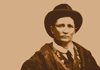 Portrait de Calamity jane, célèbre héroïne de la conquête de l'ouest et de la guerre de Sécession  du 19ème siècle
