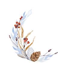 Handpainted watercolor floral frame.