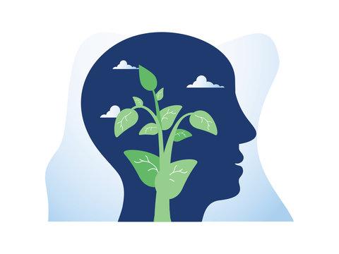 Self growth, potential development, motivation and aspiration, mental health, positive mindset, mindfulness meditation