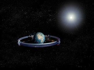 Giant space wheel surrounding the Earth