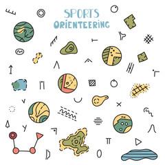 Vector illustration of orienteering map signs