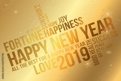 Happy 2019 New Year Greeting Card Wishes Every Success Happiness