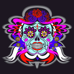 Cartoon skeleton skull with Mexico ornaments poster
