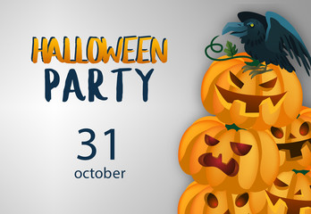 Halloween party lettering with pumpkins and crow. Invitation or advertising design. Typed text, calligraphy. For leaflets, brochures, invitations, posters or banners.