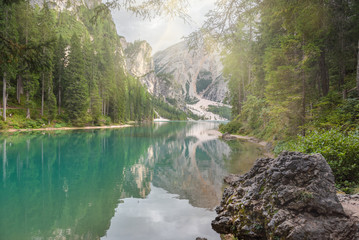 Turquoise lake in south tyrol, Braies in the Dolomites.