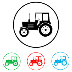 Tractor icon, logo on white background