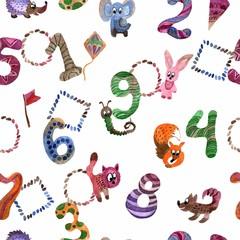 Watercolor hand painted seamless pattern with birthday numbers and fanny animals