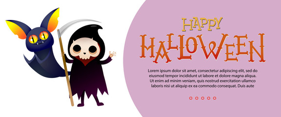 Happy Halloween lettering and sample text with grim reaper and bat. Invitation or advertising design. Typed text, calligraphy. For leaflets, brochures, invitations, flyers, posters or banners.