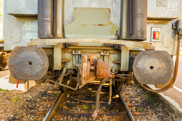 Coupling of a railway car.