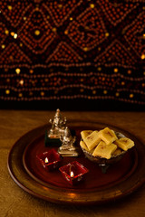 Diwali sweets and candles