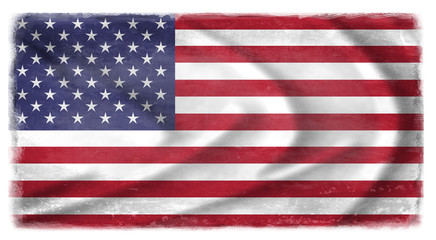 The US flag waving from the wind, proudly fluttered in the wind  with traces of use in battle and destruction from difficult warfare