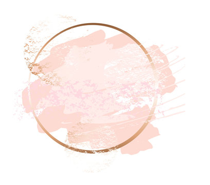 Golden pink art frames. Modern card design, brush stroke, lines, points, gold, premium brochure, flyer, invitation template. Beauty identity elegant style. Hand drawn vector.