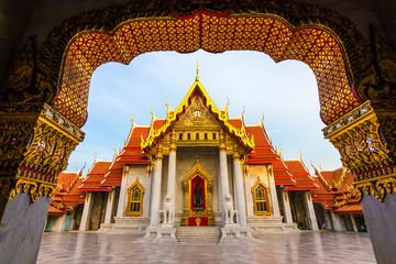 Foto auf Leinwand Kultstatte The Marble Temple , Wat Benchamabophit Dusitvanaram in Bangkok, Thailand. Unseen Thailand.