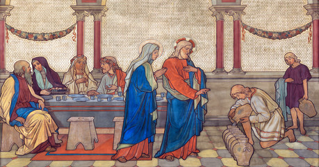 Fototapete - PRAGUE, CZECH REPUBLIC - OCTOBER 17, 2018: The fresco of The wedding at Cana  in church kostel Svateho Cyrila Metodeje probably by Gustav Miksch and Antonin Krisan (19. cent.).