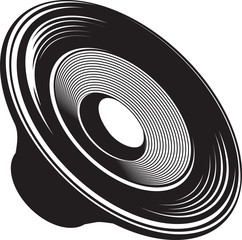 Black and white isolated illustration of speaker acoustic devices.