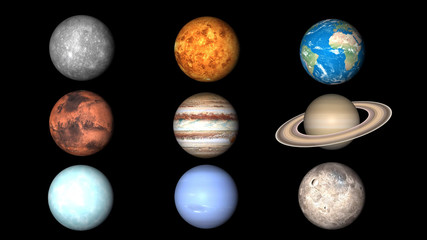 All planets of Solar System. Mercury, Venus, World, Mars, Jupiter, Saturn, Neptune, Uranus, Pluto illustration.