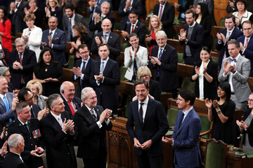 Dutch PM Rutte receives a standing ovation before addressing a joint session of Parliament in Ottawa