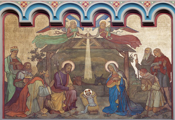 Wall Mural - PRAGUE, CZECH REPUBLIC - OCTOBER 17, 2018: The fresco of Adoration of Magi and Nativity in the church kostel Svateho Cyrila Metodeje probably by Gustav Miksch and Antonin Krisan (19. cent.).