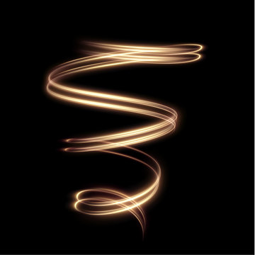 Golden shiny spiral lines effect holiday vector background. EPS10