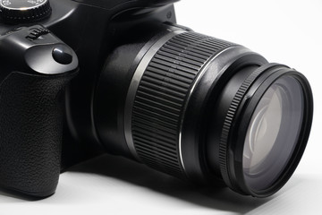 Digital DSLR Camera lens 18-55 mm on white background.