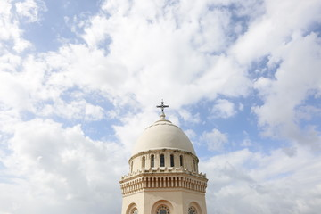 Church tower dome with cross on top, Annaba, Algeria