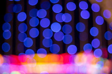 Blurry lights on blue background, Holiday bokeh.
