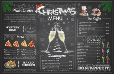 Vintage chalk drawing christmas menu design with champagne. Restaurant menu