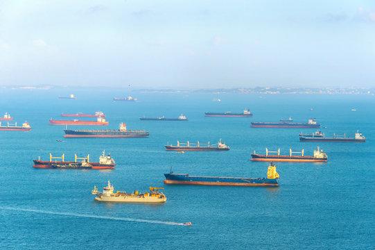 Industrial cargo shipping Singapore harbor