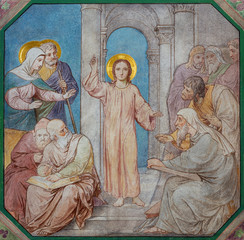 Wall Mural - PRAGUE, CZECH REPUBLIC - OCTOBER 17, 2018: The fresco of Twelve old Jesus in the Temple in church kostel Svatého Cyrila Metodeje by Petr Maixner (1872).