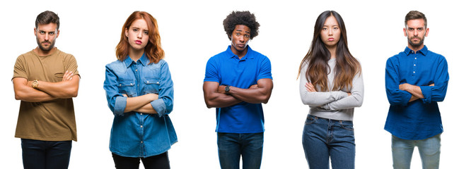 Composition of african american, hispanic and chinese group of people over isolated white background skeptic and nervous, disapproving expression on face with crossed arms. Negative person.