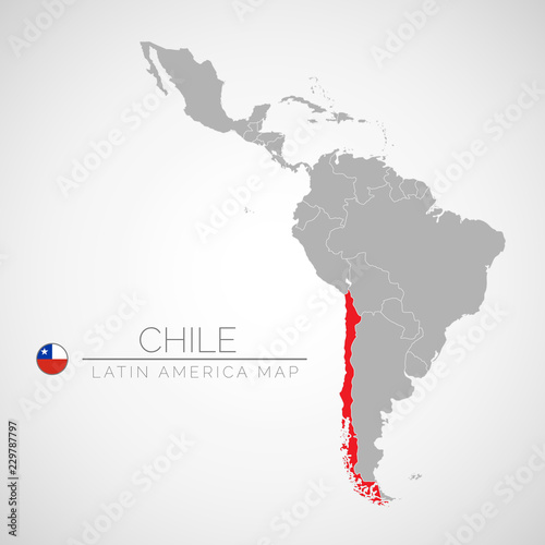Map Of Latin America With The Identication Of Chile Map Of Chile