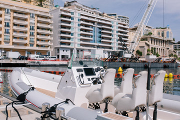Yachts and ships in the port of Monaco in summer solar Europe