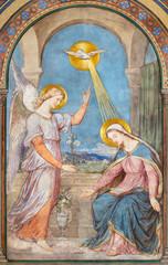 Fototapete - PRAGUE, CZECH REPUBLIC - OCTOBER 17, 2018: The fresco of Annunciation in the church kostel Svatého Cyrila Metodeje by Petr Maixner (1872).