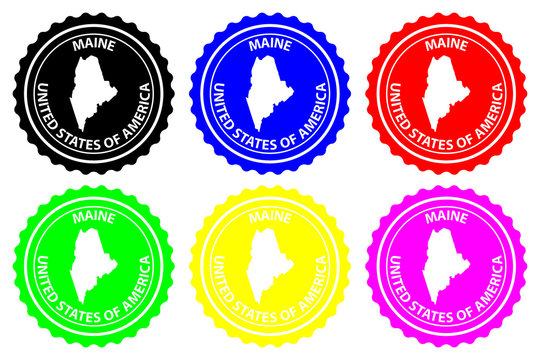 Maine - rubber stamp - vector, Maine (United States of America) map pattern - sticker - black, blue, green, yellow, purple and red