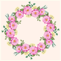 Floral round frame from cute zinnia flowers, silver eucalyptus branch, willow. Greeting card template. Design artwork for the poster, tee shirt, pillow, home decor. Summer flowers with green leaves.