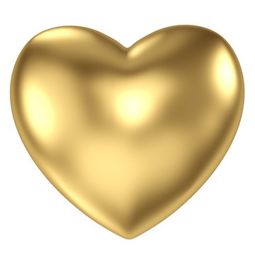 Gold heart on white background.