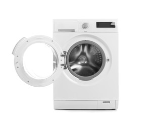 Modern washing machine on white background. Laundry day