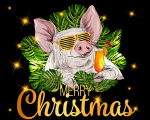 Vector cute pig in palm leaves. Pig in glasses with a cocktail in his hand. New year symbol 2019. Template for design of cards, calendars, posters