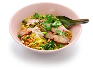 bami haeng mu daeng, egg noodles served with roast pork, thai food