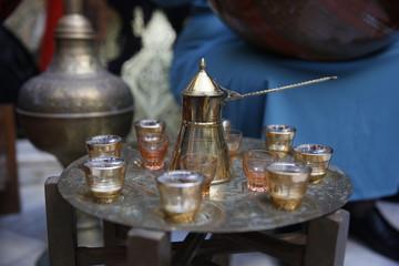 Algeria traditional mint tea pot and cup