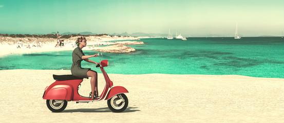 woman on a motorbike