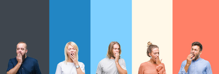 Collage of casual young people over colorful stripes isolated background bored yawning tired covering mouth with hand. Restless and sleepiness. Wall mural
