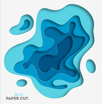 3D abstract blue wave background with paper cut shapes. Vector design layout for business presentations, flyers, posters. Eps10.