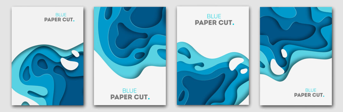 Paper cut design concept for flyers, presentations and posters. Vector abstract carving art. White and blue 3D layered vertical banners.
